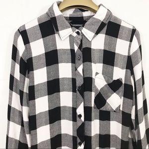 Rails Button Front Plaid Long Sleeve Shirt